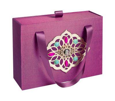 Декоративная подарочная коробка средняя фиолетовая