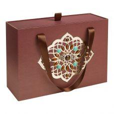 """Новогодний подарок 1500 г """"Декоративная подарочная коробка большая коричневая"""""""