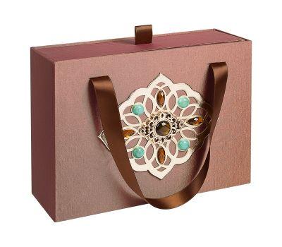 Подарочная декоративная коробка средняя коричневая