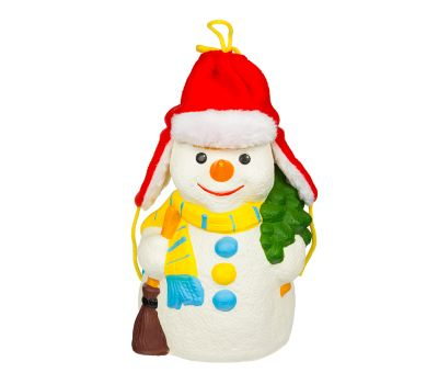 """Новогодний подарок в упаковке из ПВХ  850 г """"Снеговик в шапке-ушанке"""""""