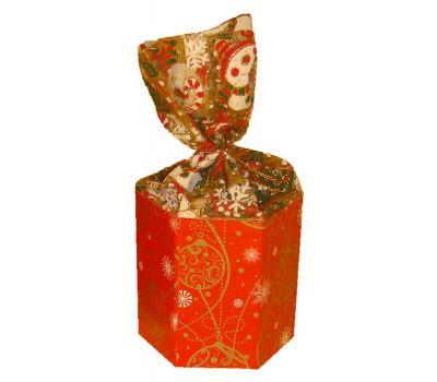 """Новогодняя упаковка  400 г """"Красный шестигранник с органзой малый"""""""