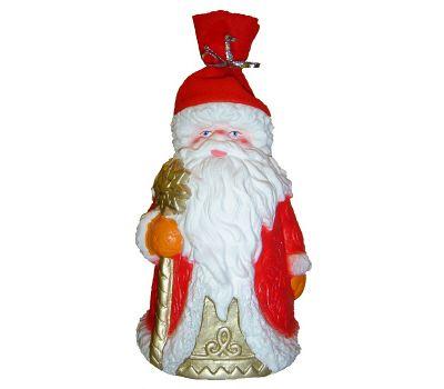 """Новогодний подарок в упаковке из ПВХ  850 г """"Дед Мороз (красный флис)"""""""