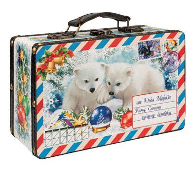 """Новогодняя упаковка 1200 г """"Чемоданчик """"Белые медвежата с шаром"""""""